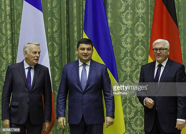 Ukrainian Prime Minister Volodymyr Groysman welcomes Minister for Foreign Affairs of Germany FrankWalter Steinmeier and Minister of Foreign Affairs...