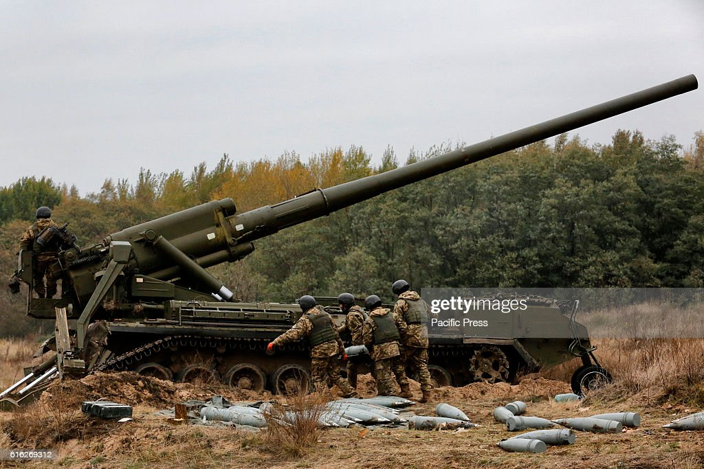Ukrainian servicemen fire a 203mm self-propelled gun 'Pion' during a military exercises on the Devichki shooting range, about 85 km of capital Kyiv, Ukraine.