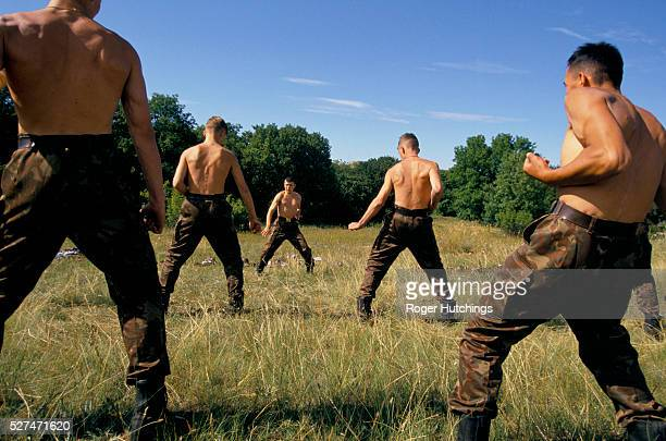 Ukrainian Special Forces Commandos training for unarmed combat at their camp near Simferopol