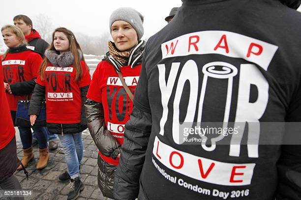 Ukrainian students and volunteers mark the International Condom Dayduring a flashmob called quotProtect your lovequotat World War II open air...
