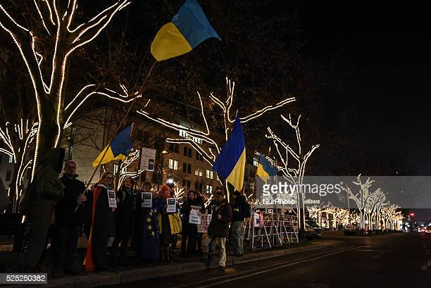 Ukrainians demonstrating in front of the Russian embassy in favouir of Ildar Dadin who was sentenced to prison in Russia for Pro Ukrainian activism...