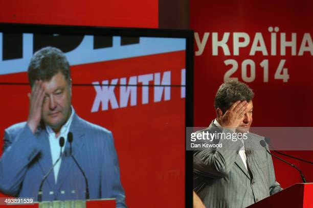 Ukrainian's President Elect Petro Poroshenko speaks to the media during a press conference on May 26 2014 in Kiev Ukraine Although the official...