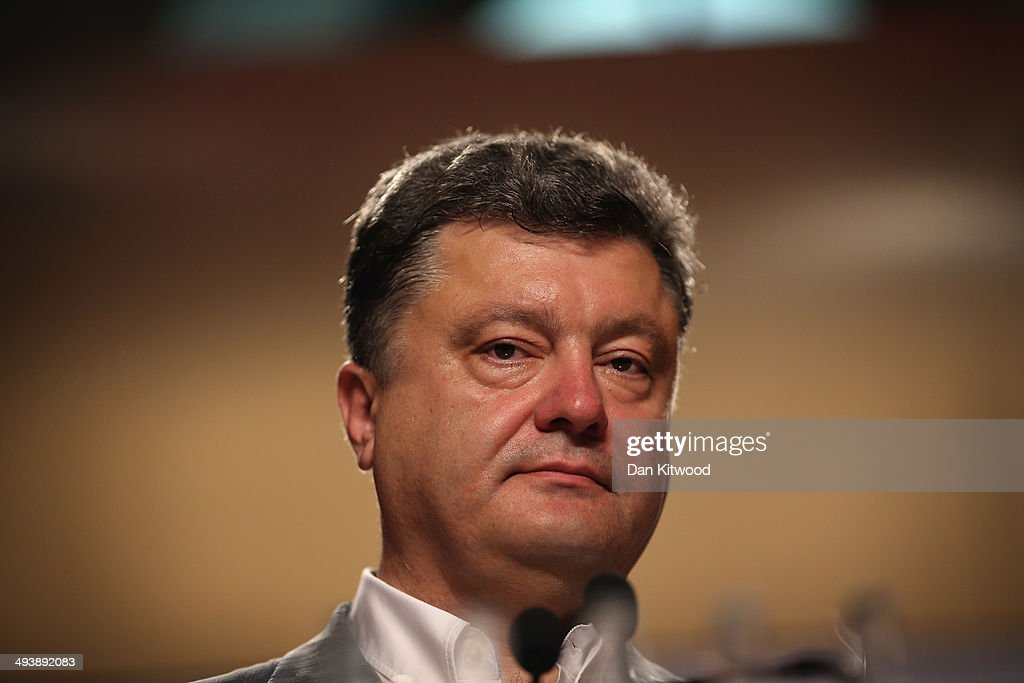 Ukrainian's President Elect <a gi-track='captionPersonalityLinkClicked' href=/galleries/search?phrase=Petro+Poroshenko&family=editorial&specificpeople=549382 ng-click='$event.stopPropagation()'>Petro Poroshenko</a>, speaks to the media during a press conference on May 26, 2014 in Kiev, Ukraine. Although the official results are expected on late Monday, Mr Poroshenko, a confectionery tycoon known as the 'Chocolate King' is expected to secure the countries Presidency after exit polls suggest the he had secured around 56% of the vote.