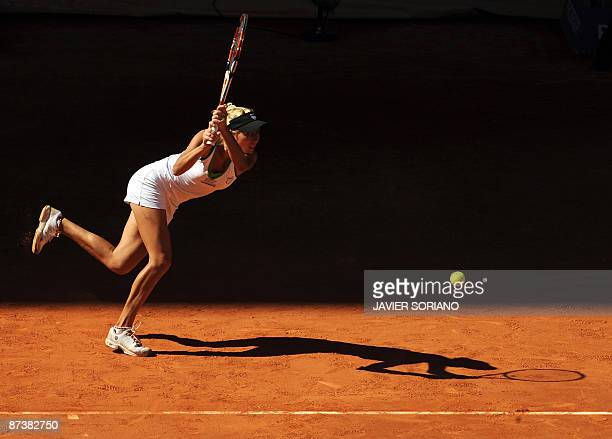 Ukranian Alona Bodarenko returns the ball to Russian Dinara Safina during their match of the WTA Madrid Open claycourt tournament on May 15 2009 in...