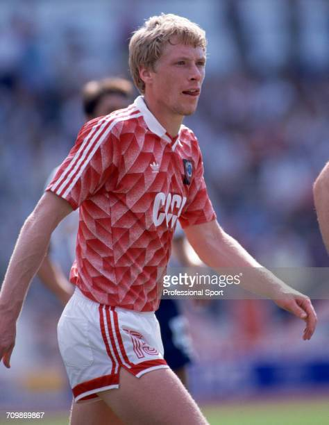 Ukranian footballer Oleksiy Mykhaylychenko pictured in action during play for the Soviet Union team in the UEFA Euro 1988 European football...