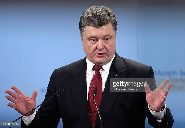Ukranian President Petro Poroshenko delivers a speech at the 51st Munich Security Conference on February 7 2015 in Munich Germany Foreign ministers...