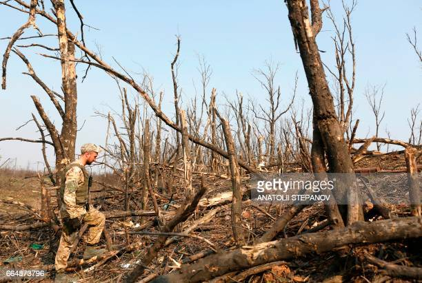 A Ukranian serviceman walks through a destroyed woods along the front line with proRussian separatists near the eastern Ukrainian city of Avdiivka on...