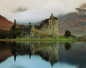 UK,Scotland,Kilchurn Castle with reflection in Loch Awe,sunset