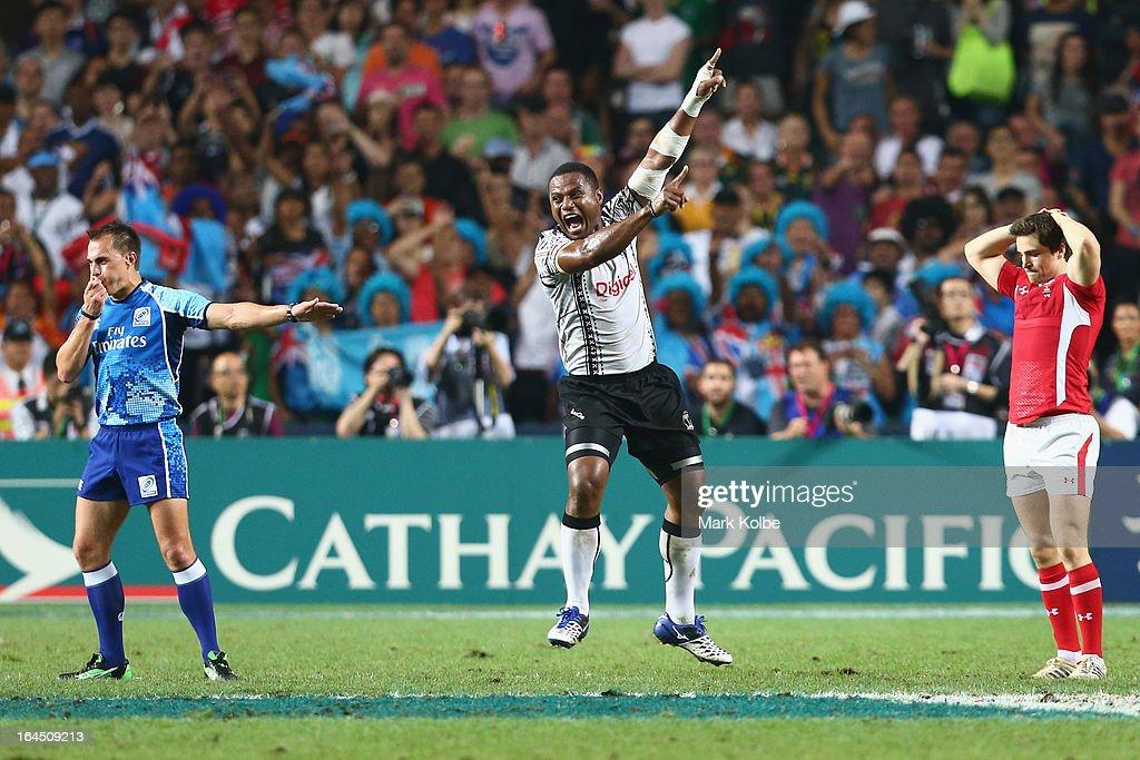 Ulaiyasi Lawavou of Fiji celebrates after winning the cup final match between Fiji and Wales during day three of the 2013 Hong Kong Sevens at Hong Kong Stadium on March 24, 2013 in So Kon Po, Hong Kong.