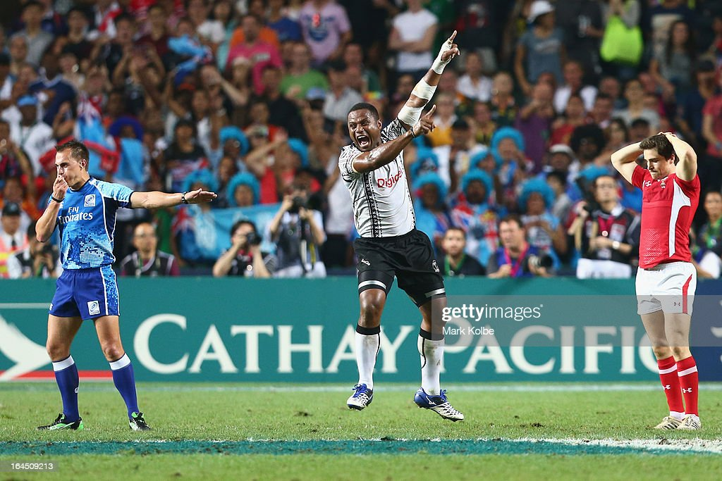Ulaiyasi Lawavou of Fiji celebrates after winning the cup final match between Fiji and Wales during day three of the 2013 Hong Kong Sevens at Hong...