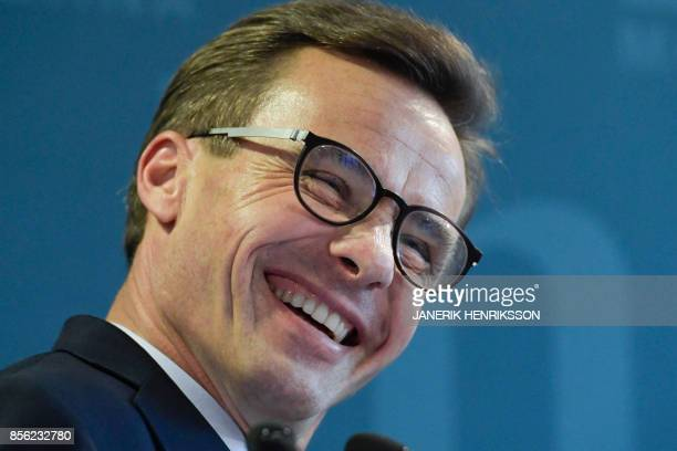 Ulf Kristersson gives a press conference after his election as the new leader of the Swedish liberalconservative Moderate Party in Stockholm Sweden...
