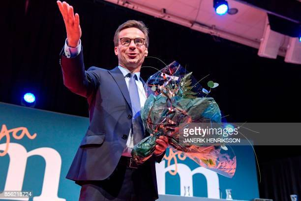 Ulf Kristersson reacts after his election as the new leader of the Swedish liberalconservative Moderate Party during a party meeting in Stockholm...