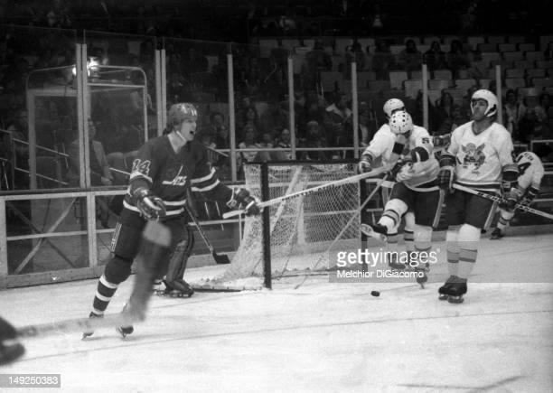 Ulf Nilsson of the Winnipeg Jets celebrates after scoring a goal against the Minnesota Fighting Saints on January 28 1975 at the St Paul Civic Center...
