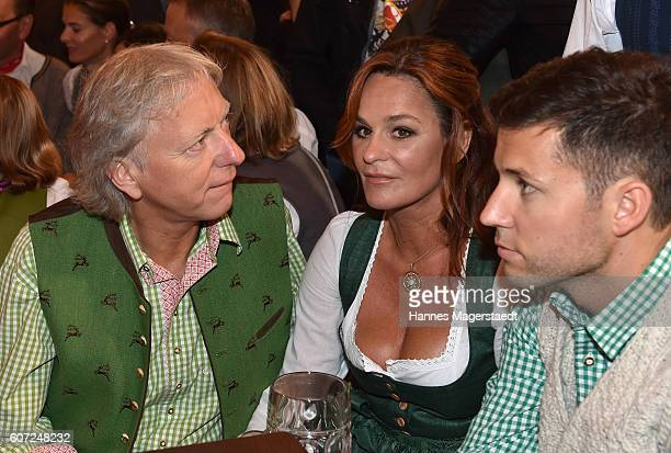 Uli Ferber Andrea Berg and Andreas Ferber during the opening of the 2016 Oktoberfest beer festival in the Schottenhamel tent at Theresienwiese on...