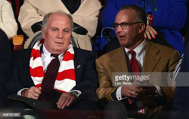 Uli Hoeness and Karl Heinz Rummenigge of Muenchen are seen during the FIFA Club World Cup Final between FC Bayern Muenchen and Raja Casablanca at...