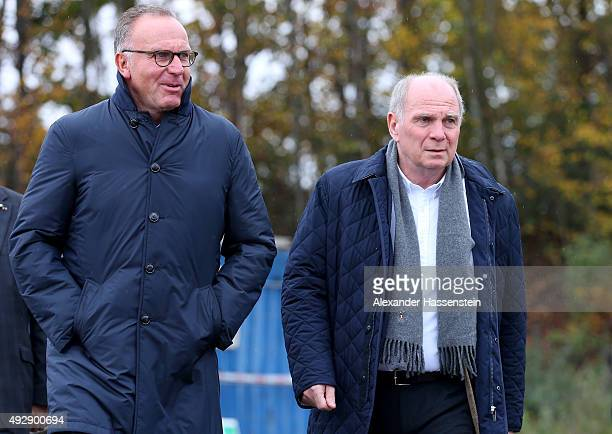 Uli Hoeness arrives with KarlHeinz Rummenigge CEO of Bayern Muenchen for the FC Bayern Muenchen youth center for excellence ground breaking ceremony...