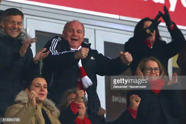 Uli Hoeness celebrates the first Bayern Muenchen team goal during the Bundesliga match between FC Bayern Muenchen and 1 FSV Mainz 05 at Allianz Arena...