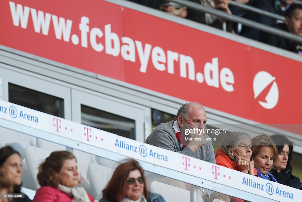 Uli Hoeness, former President of Bayern Muenchen watches during the Bundesliga match between Bayern Muenchen and Borussia Moenchengladbach at Allianz Arena on April 30, 2016 in Munich, Germany.