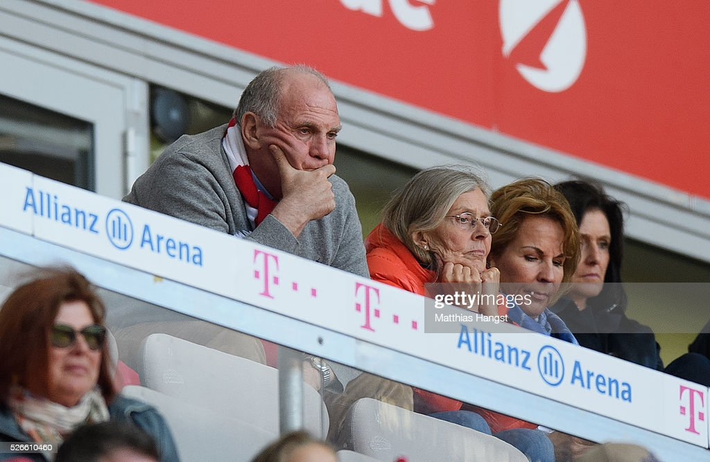 <a gi-track='captionPersonalityLinkClicked' href=/galleries/search?phrase=Uli+Hoeness&family=editorial&specificpeople=634868 ng-click='$event.stopPropagation()'>Uli Hoeness</a>, former President of Bayern Muenchen watches during the Bundesliga match between FC Bayern Muenchen and Borussia Moenchengladbach at Allianz Arena on April 30, 2016 in Munich, Germany.
