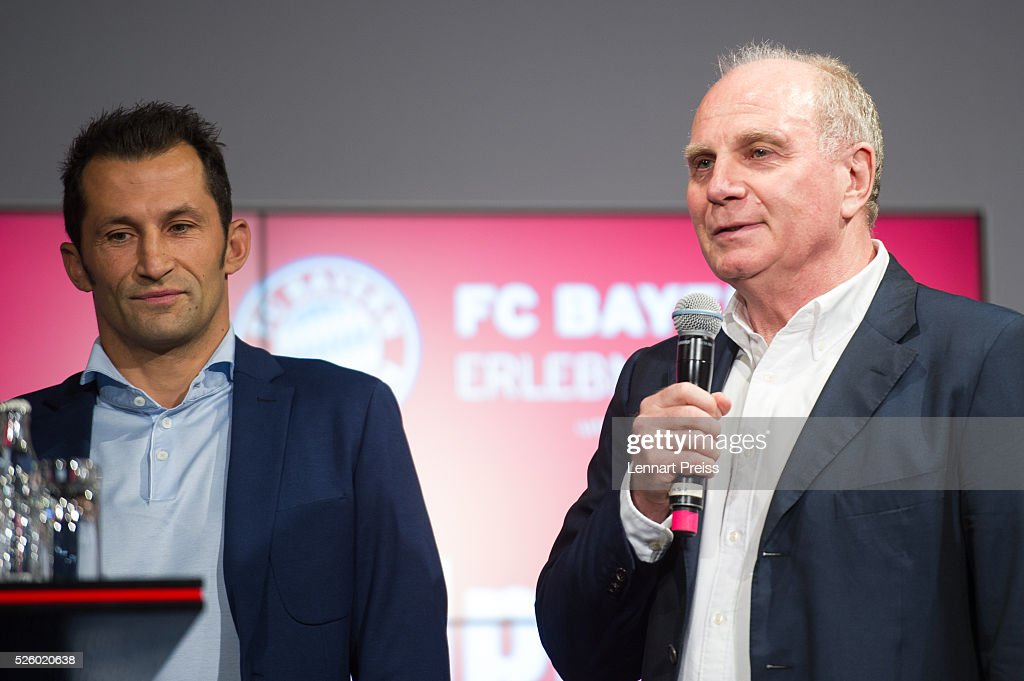 Uli Hoeness (R), former president of FC Bayern Muenchen and Hasan Salihamidzic, former player of FC Bayern Muenchen attend the opening of the exhibition 'Professional Football Player - Dream And Reality' at FCB Erlebniswelt on April 29, 2016 in Munich, Germany.