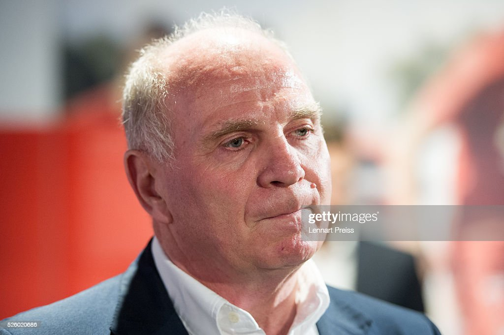 <a gi-track='captionPersonalityLinkClicked' href=/galleries/search?phrase=Uli+Hoeness&family=editorial&specificpeople=634868 ng-click='$event.stopPropagation()'>Uli Hoeness</a>, former president of FC Bayern Muenchen attends the opening of the exhibition 'Professional Football Player - Dream And Reality' at FCB Erlebniswelt on April 29, 2016 in Munich, Germany.