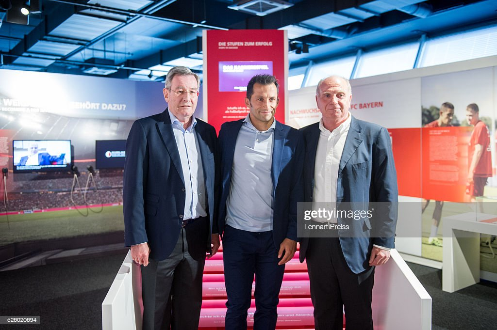 <a gi-track='captionPersonalityLinkClicked' href=/galleries/search?phrase=Uli+Hoeness&family=editorial&specificpeople=634868 ng-click='$event.stopPropagation()'>Uli Hoeness</a> (R-L), former president of FC Bayern Muenchen, <a gi-track='captionPersonalityLinkClicked' href=/galleries/search?phrase=Hasan+Salihamidzic&family=editorial&specificpeople=217799 ng-click='$event.stopPropagation()'>Hasan Salihamidzic</a>, former player of FC Bayern Muenchen and <a gi-track='captionPersonalityLinkClicked' href=/galleries/search?phrase=Karl+Hopfner&family=editorial&specificpeople=635248 ng-click='$event.stopPropagation()'>Karl Hopfner</a>, president of FC Bayern Muenchen pose during the opening of the exhibition 'Professional Football Player - Dream And Reality' at FCB Erlebniswelt on April 29, 2016 in Munich, Germany.