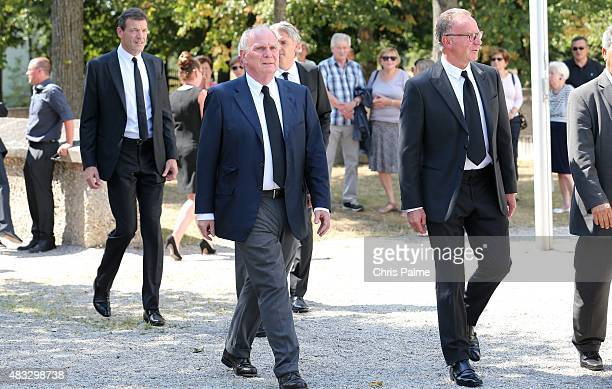 Uli Hoeness Karlheinz Rummenigge during the memorial service for Stephan Beckenbauer at church 'St Heilige Familie' on August 7 2015 in Munich...