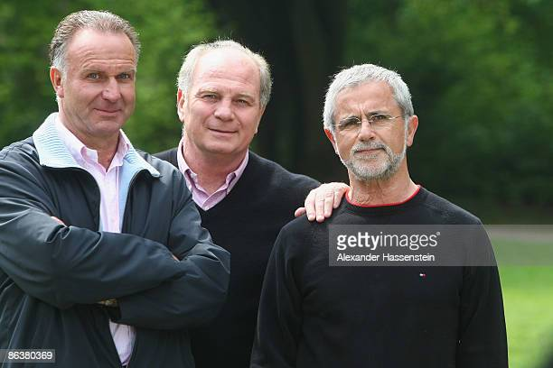 Uli Hoeness manager of Bayern Muenchen KarlHeinz Rummenigge CEO of Bayern Muenchen and Gerd Mueller attend a Deutsche Telekom LPS Commercial on May 4...