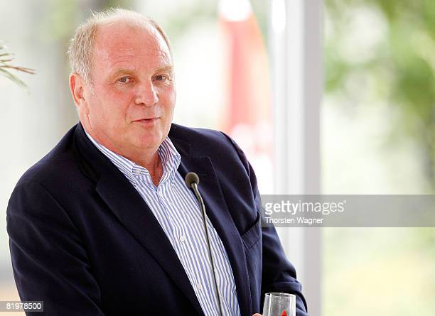 Uli Hoeness manager of Bayern Muenchen speaks during the referee meeting press conference at the Sportschule Kaiserau in Kamen near Dortmund on July...