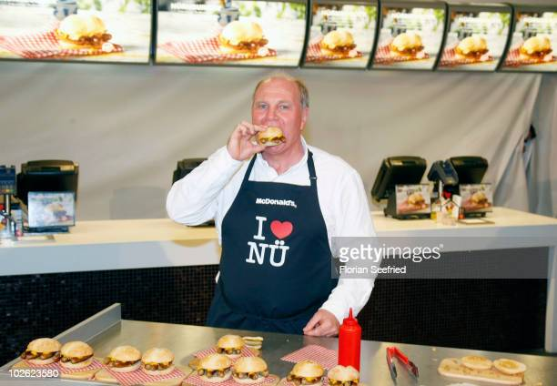 Uli Hoeness presents the 'McDonalds Nurnburger' at the McDonalds branch at Tal on July 5 2010 in Munich Germany The 'McDonalds Nurnburger' is a...