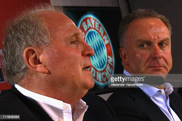 Uli Hoeness President of Bayern Muenchen and KarlHeinz Rummenigge CEO of Bayern Muenchen attend a press conference at Bayern's training ground...