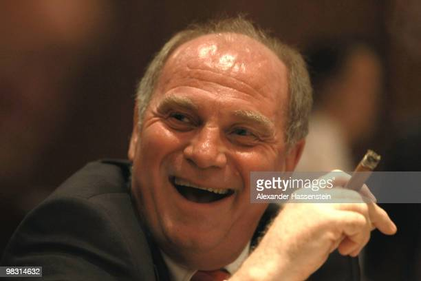 Uli Hoeness President of Bayern Muenchen attends the Champions League dinner at the Marriott Worsley Park hotel after the UEFA Champions League...