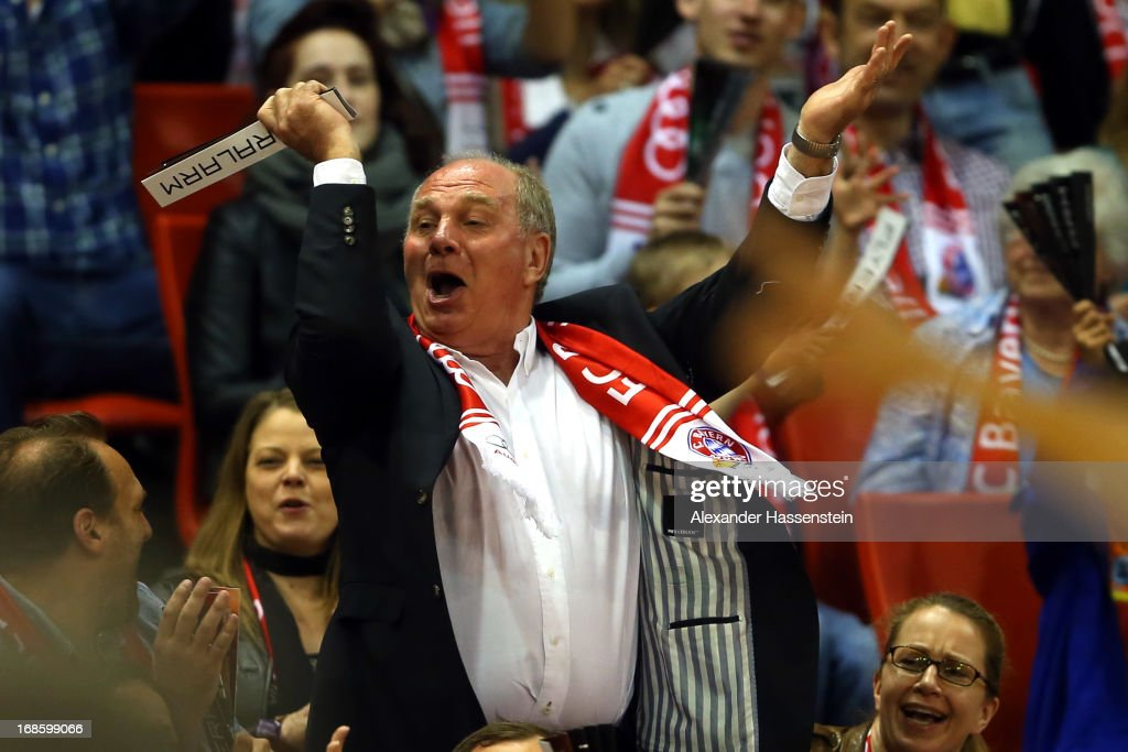 <a gi-track='captionPersonalityLinkClicked' href=/galleries/search?phrase=Uli+Hoeness&family=editorial&specificpeople=634868 ng-click='$event.stopPropagation()'>Uli Hoeness</a>, President of Bayern Muenchen celebrates during Game 3 of the quarterfinals of the Beko Basketball Playoffs between FC Bayern Muenchen and ALBA Berlin at Audi-Dome on May 12, 2013 in Munich, Germany.