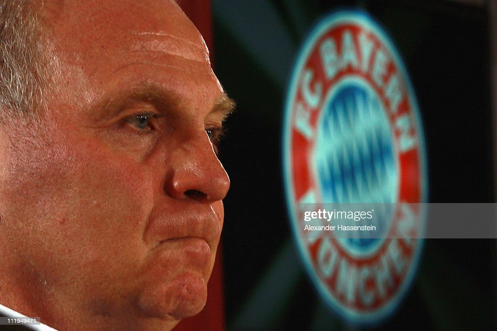 <a gi-track='captionPersonalityLinkClicked' href=/galleries/search?phrase=Uli+Hoeness&family=editorial&specificpeople=634868 ng-click='$event.stopPropagation()'>Uli Hoeness</a>, President of Bayern Muenchen looks on during a press conference at Bayern's training ground 'Saebener Strasse' on April 10, 2011 in Munich, Germany.