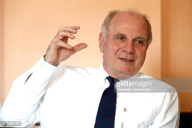 Uli Hoeness President of FC Bayern Muenchen during an interview on March 23 2017 in Munich Germany