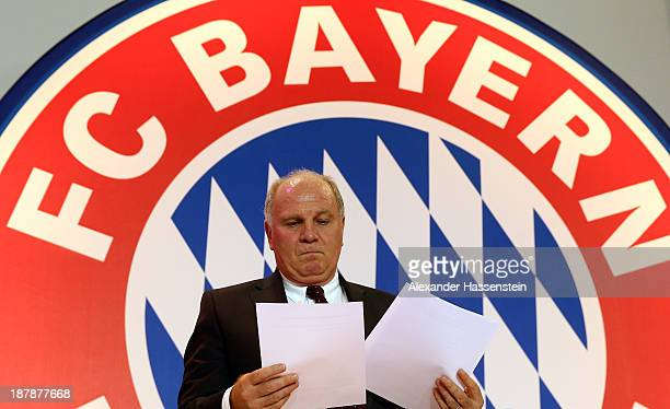 Uli Hoeness President of FC Bayern Muenchen looks on prior the FC Bayern Muenchen annual general meeting at Audi Dome on November 13 2013 in Munich...