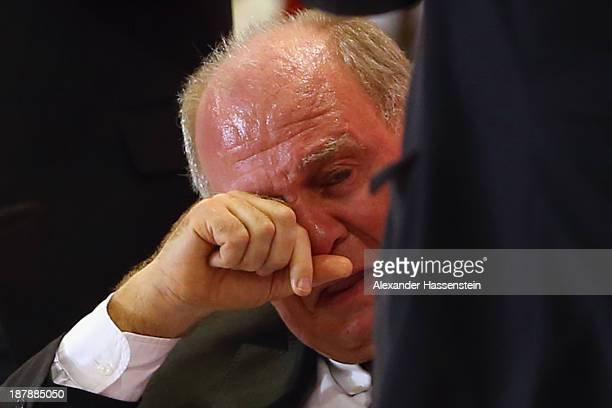 Uli Hoeness President of FC Bayern Muenchen reacts during the FC Bayern Muenchen annual general meeting at Audi Dome on November 13 2013 in Munich...