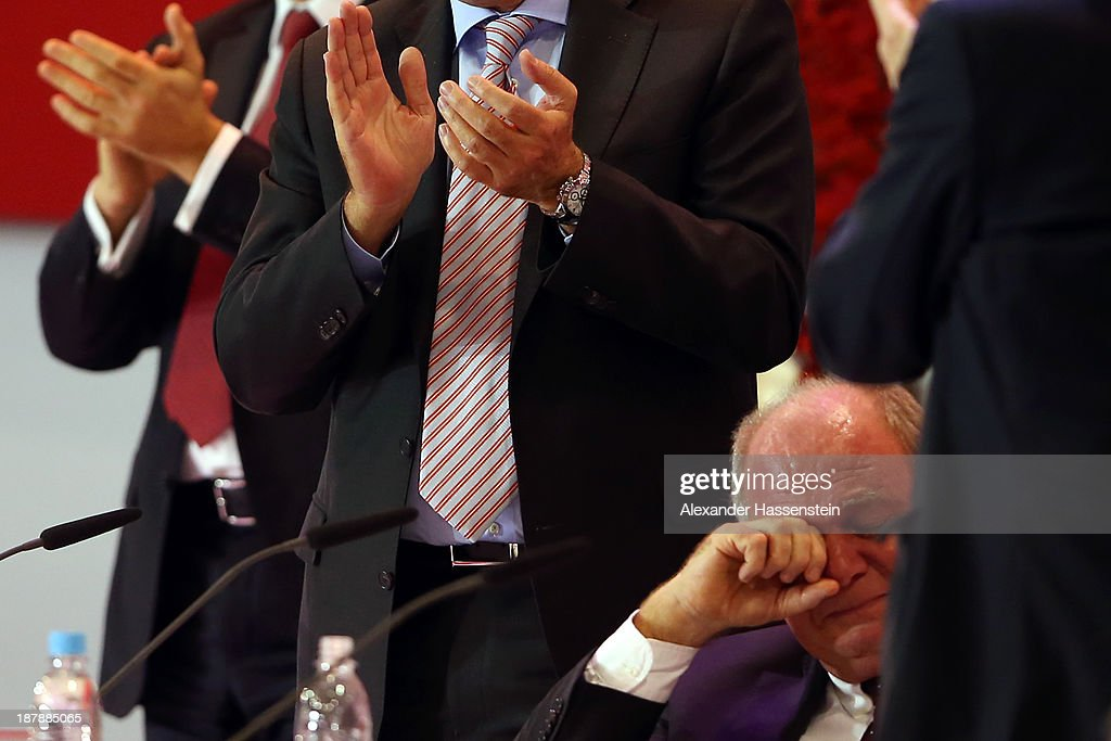 Uli Hoeness, President of FC Bayern Muenchen reacts during the FC Bayern Muenchen annual general meeting at Audi Dome on November 13, 2013 in Munich, Germany.