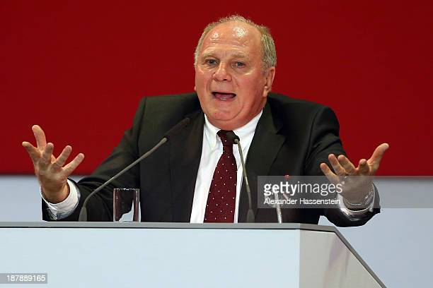 Uli Hoeness President of FC Bayern Muenchen speaks during the FC Bayern Muenchen annual general meeting at Audi Dome on November 13 2013 in Munich...