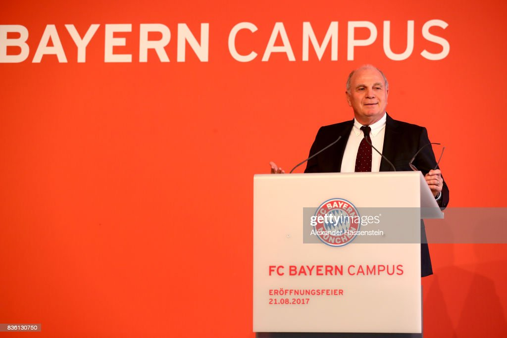Uli Hoeness, President of FC Bayern Muenchen speaks during the pening ceremony of the FC Bayern Campus at FC Bayern Campus on August 21, 2017 in Munich, Germany.