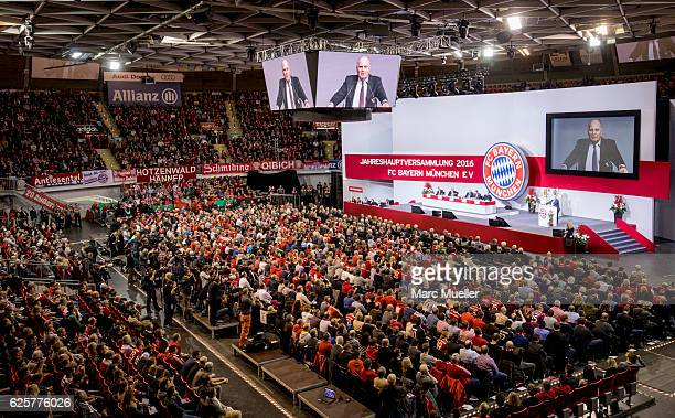 Uli Hoeness speaks at the FC Bayern Muenchen Annual General Assembly at AudiDome on November 25 2016 in Munich Germany