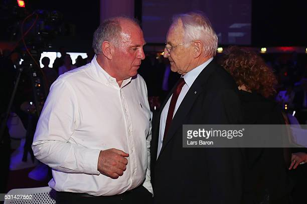 Uli hoeness talks to former Bavarian premier Edmund Stoiber at the FC Bayern Muenchen Bundesliga Champions Dinner at the Postpalast on May 14 2016 in...