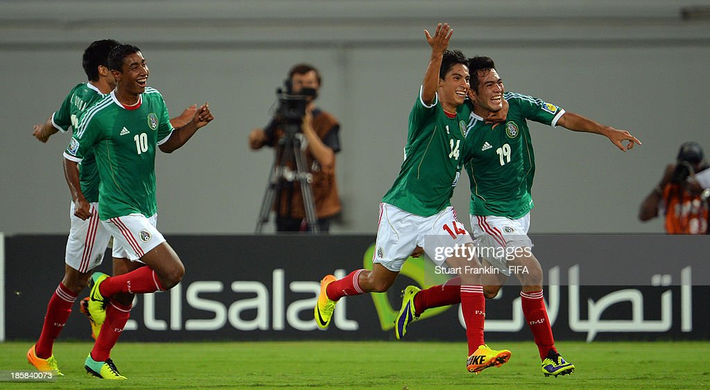 Ulises Jaimes of Mexico celebrates scoring his goal during the FIFA U 17 World Cup group F match between Sweden and Mexico at Khalifa Bin Zayed Stadium on October 25, 2013 in Al Ain, United Arab Emirates.