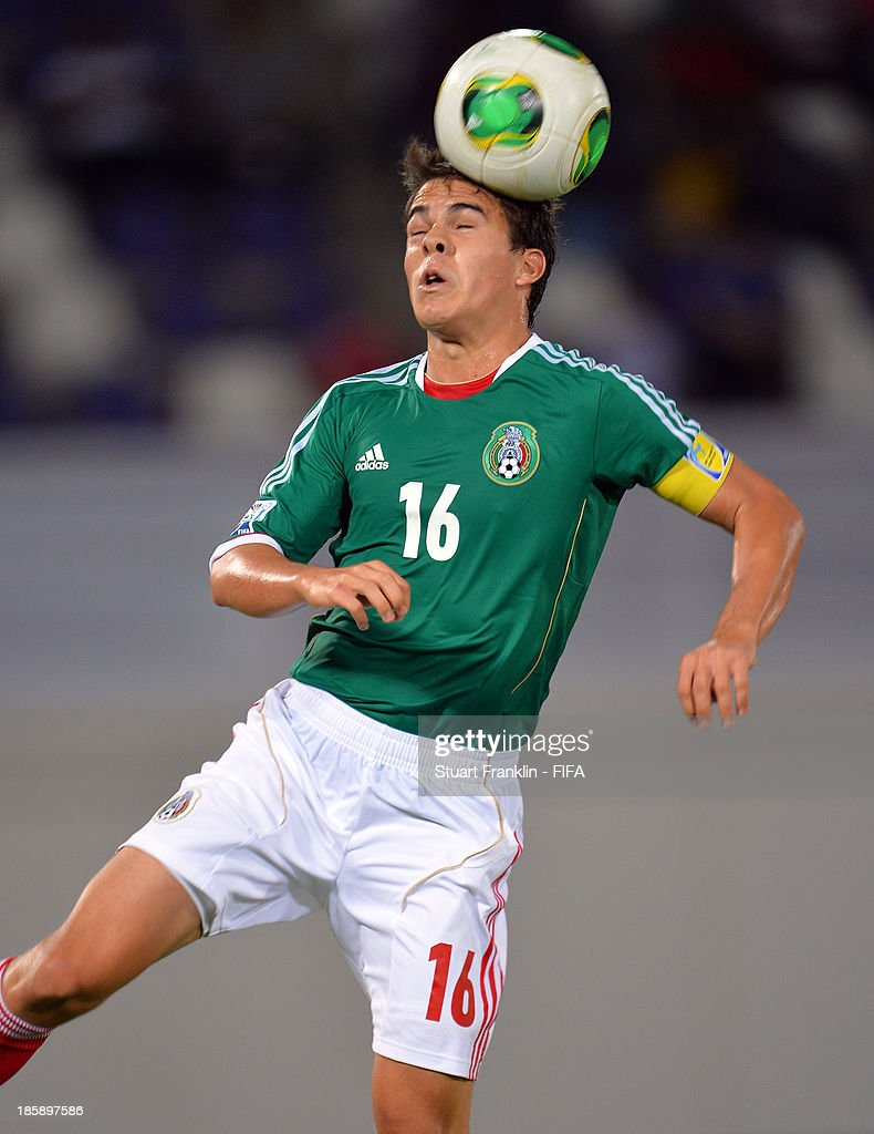Ulises Rivas of Mexico in action during the FIFA U 17 World Cup group F match between Sweden and Mexico at Khalifa Bin Zayed Stadium on October 25, 2013 in Al Ain, United Arab Emirates.