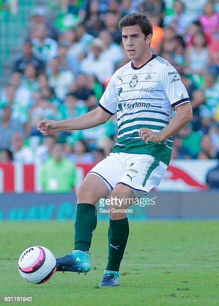Ulises Rivas of Santos passes the ball during the 4th round match between Santos Laguna and Veracruz as part of the Torneo Apertura 2017 Liga MX on...