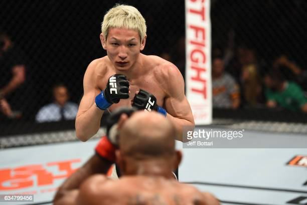 Ulka Sasaki of Japan circles Wilson Reis of Brazil in their flyweight bout during the UFC 208 event inside Barclays Center on February 11 2017 in...