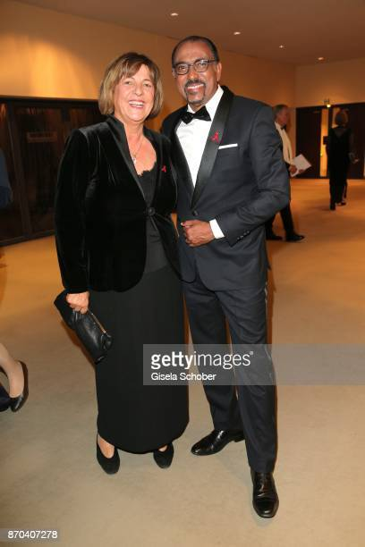 Ulla Schmidt and Michel Sidibe Unaids Executive Director during the 24th Opera Gala benefit to Deutsche AidsStiftung at Deutsche Oper Berlin on...