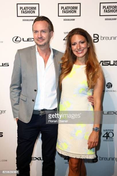 Ulli Mahler and Mara Bergmann attend the Breuninger show during Platform Fashion July 2017 at Areal Boehler on July 21 2017 in Duesseldorf Germany