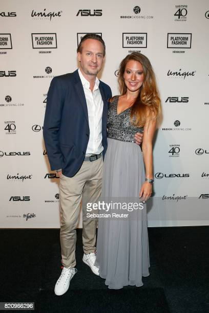 Ulli Mahler and Mara Bergmann attend the Unique show during Platform Fashion July 2017 at Areal Boehler on July 22 2017 in Duesseldorf Germany