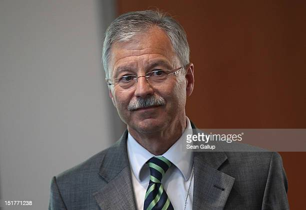 Ulrich Birkenheier president of the German Military CounterIntellgence Service leaves the commission room after testifying to the Bundestag...